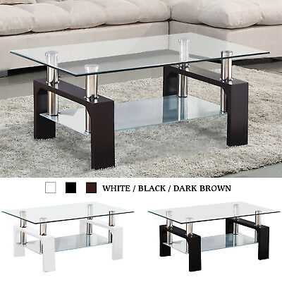Modern Rectangle Coffee Table End Side Table with Shelves Living Room Furniture