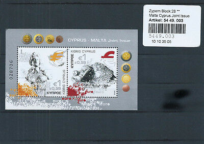 1 Zypern Block Nr. 28 - Malta Joint Issue - Postfrisch !!!