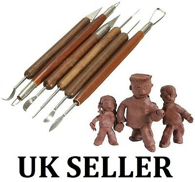 6 pcs Assorted Polymer Clay Pottery Ceramics Sculpting Carving Tools  UK SELLER