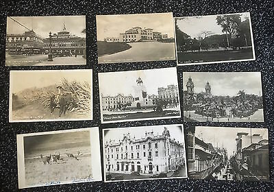 lot of 9 postcards Peru Lima  some RPPC real photo postcards and types