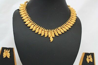 Bollywood Style Ethnic Indian Gold Plated Pearl Jewellery Necklace Earrings 262