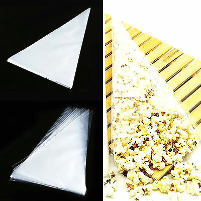 Brand New Clear Plain Cone Cellophane Sweet Birthday Party Food Gift Bags CQ1521