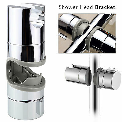 Chrome Shower Rail Head Slider Holder Adjustable 18mm to 25mm Universal Bracket
