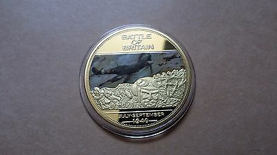 Battle Of Britain Medal, 75 aniv.of WWII, 2014- gold plated, PROOF-with C.O.A