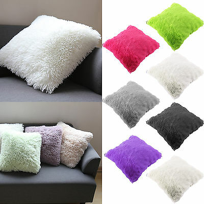Throw Decoration Fur Fluffy Sofa Pillow Soft Plush Luxury Cushion Cover 7 Colors