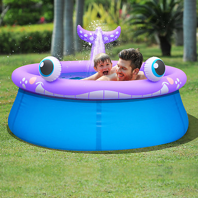 Kids Inflatable Pool Spray Whale Shape Children Garden Fun Paddling Blue Purple