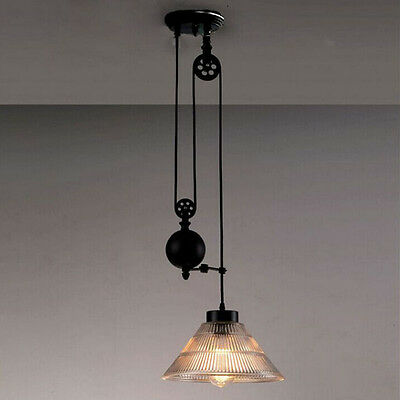 Retractable Pulley Lamp Industrial Retro Glass  Hanging Ceiling Light Pendant