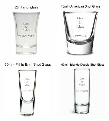 Personalised Engraved Shot Glass Wedding favours Guests toasts drink bride groom