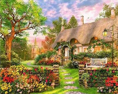 SUMMERTIME COTTAGE FULL DIAMOND PAINTING KIT 5D CROSS STITCH MOSAICS 40x30CM