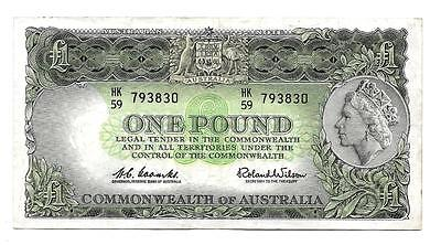 One pound Australia banknote,ND(1961-65), P-34a, QEII , Watermark J.Cook - XF