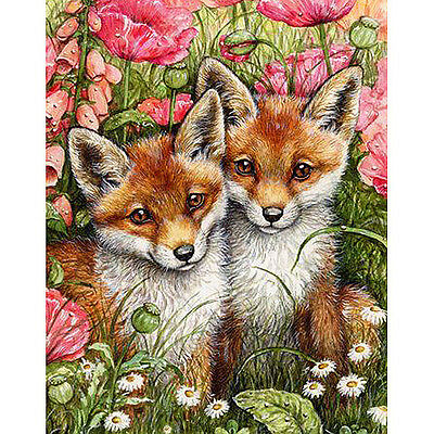FOXY FRIENDS FULL DIAMOND PAINTING KIT 5D CROSS STITCH MOSAICS 20x25CM
