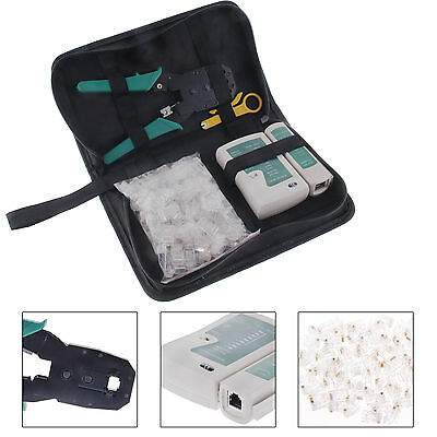 RJ45 Ethernet Cable Hand Crimper Network rimping Tester Tool Kit &100 Connectors