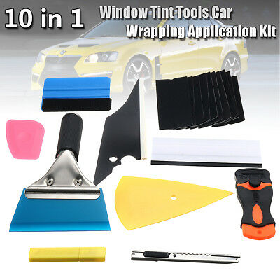10pcs Window Tint Tools Car Wrapping Application DIY Kit Vinyl Sheet Squeegee