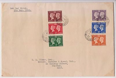 Gb Kgvi 1940 Fdc First Day Cover Penny Black Postage Stamp Centenary