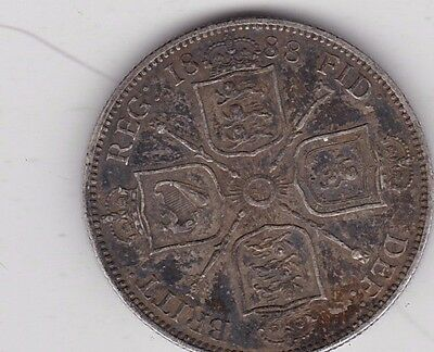 1888 Victorian Silver Jubilee Head Florin In Good Very Fine Condition