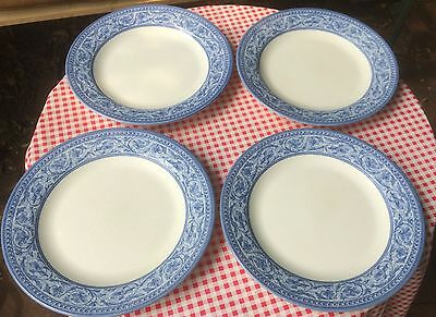 """Churchill Blue and White 10"""" plates (set of 4)"""