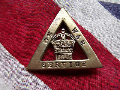 A WW1 WOMEN'S FEMALE 1916 ON WAR SERVICE HOME FRONT BADGE Brooch Pin