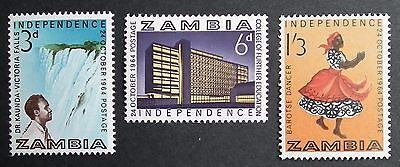 Zambia (1964) Independence / Dancing / Architecture / Water Fall- Mint (MNH)