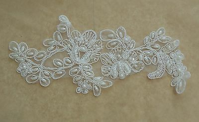 bridal wedding ivory beaded lace applique floral sequined lace motif on organza