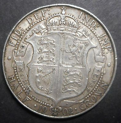 Great Britain 1902 Edward VII   Silver Halfcrown Better Grade Part Lustre  Nice