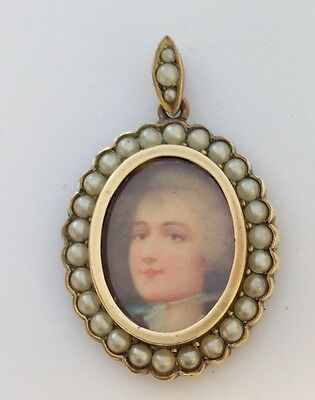 Antique Rolled Gold And  Seed Pearl Pendant Locket