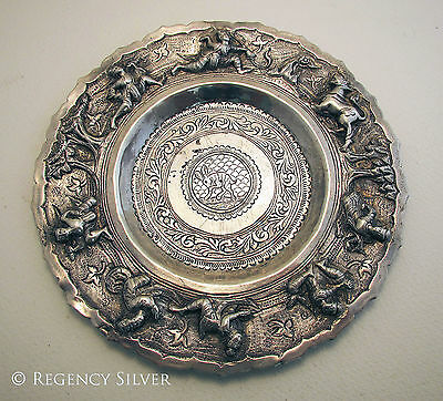 Antique c1890 Rare Burmese Solid Silver Repousse Indian Burma Cobra Dish/Bowl