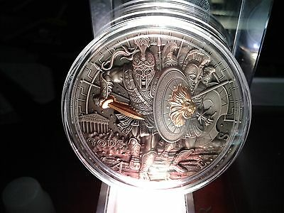 The Polish mint Aries God of War series 2 ounce antique silver high relief coin