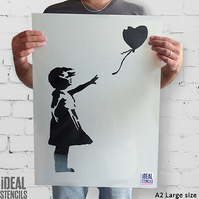 Banksy Balloon Girl stencil art craft wall home decor painting - Ideal Stencils