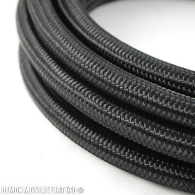 3 Metre x AN8 -8 AN Black Nylon Braided Fuel Oil Hose 11mm ID Internal Diametre