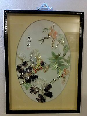 Oriental Mother Shell Of Pearl Art Birds With Flowers Picture / Signed By Artist