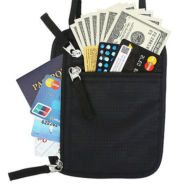 Travel Secure Neck Pouch Passport Card Ticket Hidden Phone Wallet Holster Bag AU