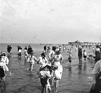 Photographic Glass Stereo Slide Cleethorpes  Beach Summer August 1911