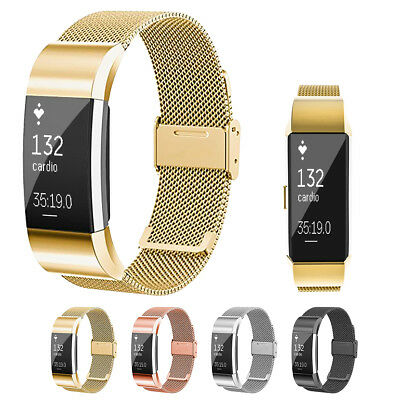 Luxury Stainless Steel Milanese Watch Band Strap Bracelet for Fitbit Charge 2