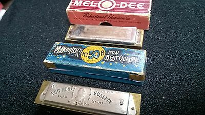 Vintage Harmonica Lot of 2,Hohner,New Best Quality,Pre War,5 Point Star&Melodee