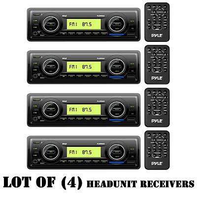 Lot of (4) Pyle PLMR86B Marine AM/FM Stereo Player, Aux-In for iPod/MP3 & Remote