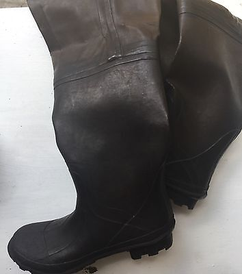 Size MEN 13 Steel Shank HEAVY BLACK RUBBER Hip Boots WADERS VERY TALL