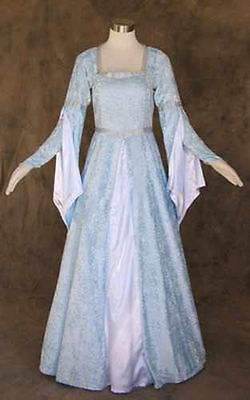 Light Blue Crushed Velvet Medieval Renaissance Gown Dress Costume Wedding 2X