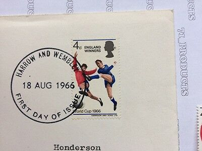 G.B 1966 World Cup Winners First Day Cover, Harrow & Wembley Stamped 18 Aug 1966