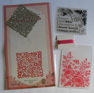 Pretty Quick Floral Panel Die, Embossing Folder, Stamps & Ribbon - Please Read.