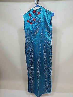 Chinese woman ladies blue long dress Ethnic Asian top skirt size M free ship