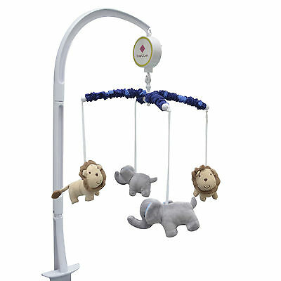 Jungle Jamboree Musical Mobile Elephant Lion Blue Music Crib Toy  by Belle