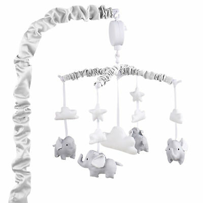 Grey Musical Mobile With Elephants, Clouds and Stars by The Peanut Shell