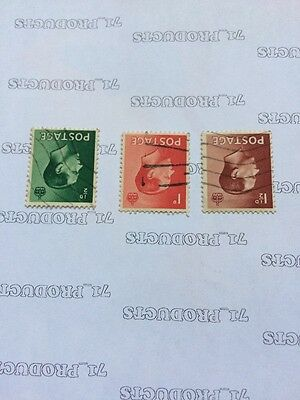 Sg 457wi - 459wi Edward VIII Wmk Inverted Set of 3 stamps Used