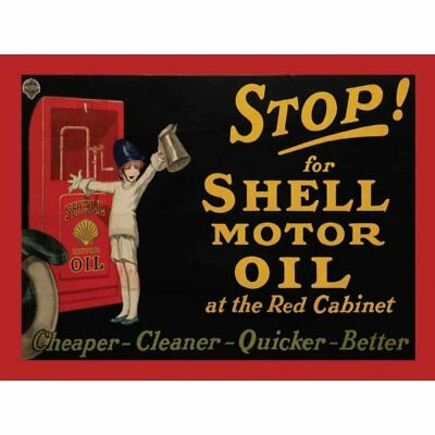 """Original Metal Sign Co Wall Sign Stop For Shell Motor Oil Vintage Advert 8"""" x 6"""""""