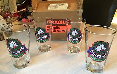 Vintage Rolling Rock Pint Christmas Glasses by Libbey Set of 4