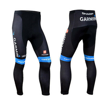Mens Team Road Cycling Bottoms Gears Biking Tights Long Pants Padded Trousers