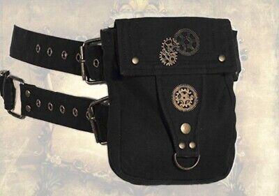 Gothic Steampunk Belt Bag Belt Bag Waistbag Black Gears New