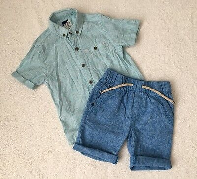 ***Next boys Blue Linen shorts and shirt top 4-5 years EXCELLENT!***