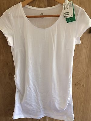NEW WITH TAGS White Maternity Tshirt H&M Mama. Size Medium