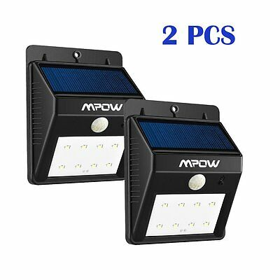 2X MPOW Updated 8LED Solar Panel Lights Waterproof Motion Sensor Lamp for Garden